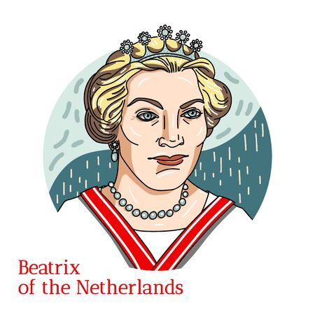 Beatrix of the Netherlands colored vector portrait with black contours. Queen of the Netherlands from April 30, 1980 until her abdication on April 30, 2013.