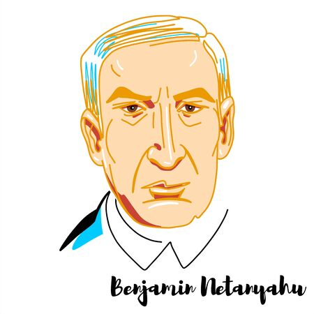 Benjamin Netanyahu engraved vector portrait with ink contours. Israeli politician serving as the 9th and current Prime Minister of Israel since 2009. Editorial