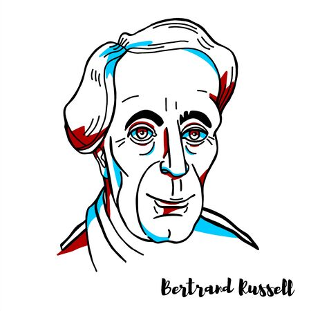 Bertrand Russell engraved vector portrait with ink contours. British philosopher, logician, mathematician, historian, writer, essayist, social critic, political activist, and Nobel laureate. Editorial