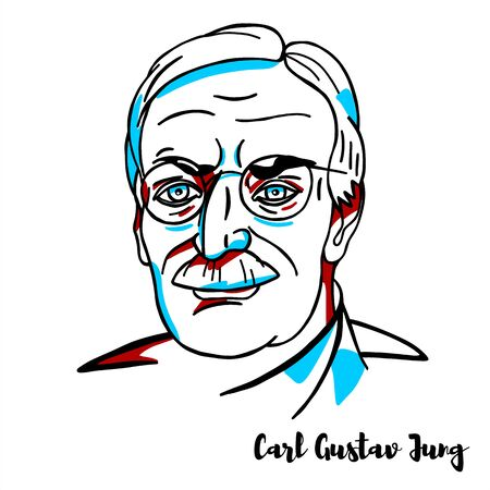 Carl Gustav Jung engraved vector portrait with ink contours. Swiss psychiatrist and psychoanalyst who established analytical psychology.