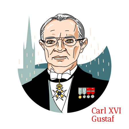 Carl XVI Gustaf colored vector portrait with black contours. The King of Sweden, ascended the throne of the death of his grandfather, King Gustaf VI Adolf.