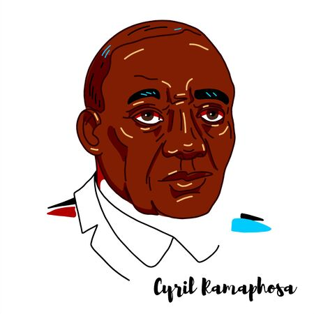 Cyril Ramaphosa engraved vector portrait with ink contours. South African politician of South Africa.