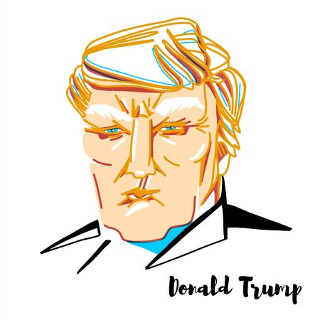 Donald Trump engraved vector portrait with ink contours. The 45th and current president of the United States.