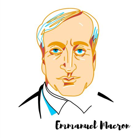 Emmanuel Macron engraved vector portrait with ink contours. French politician serving as President of the French Republic.