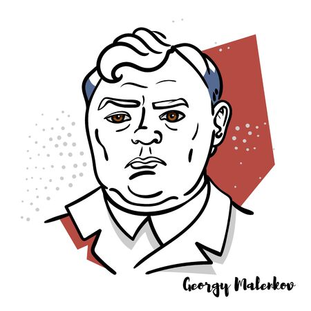 Georgy Malenkov flat colored vector portrait with black contours. Soviet politician who succeeded as the leader of the Soviet Union. Editorial