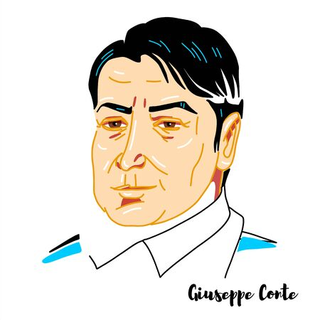 Giuseppe Conte engraved vector portrait with ink contours. Italian jurist and politician serving as the 58th and current Prime Minister of Italy since 1 June 2018.