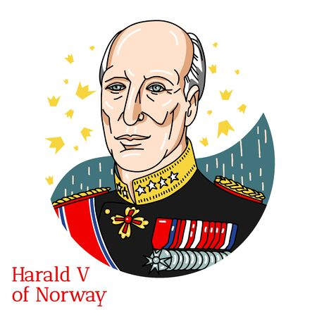 Harald V of Norway colored vector portrait with black contours. The King of Norway, having ascended to the throne on January 17, 1991.
