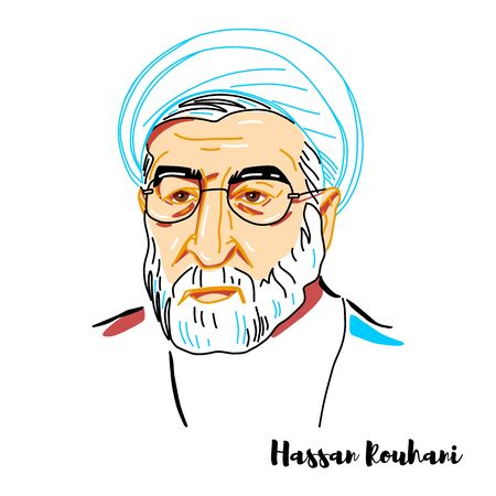Hassan Rouhani engraved vector portrait with ink contours. President of Iran since 2013, lawyer, academic, former diplomat and Islamic cleric.