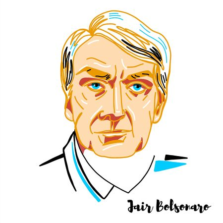 Jair Bolsonaro engraved vector portrait with ink contours. Brazilian politician and retired military officer, serving as the 38th President of Brazil. 報道画像