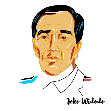 Joko Widodo engraved vector portrait with ink contours. Indonesian politician who is the seventh and current president of Indonesia.