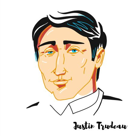 Justin Trudeau engraved vector portrait with ink contours. Canadian politician has been serving as the 23rd prime minister of Canada since 2015 and the Leader of the Liberal Party since 2013.