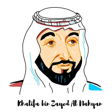 Khalifa bin Zayed Al Nahyan engraved vector portrait with ink contours. The Abu Dhabi and the Supreme Commander of the Union Defense Force.