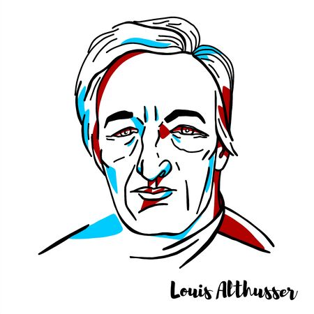 Louis Althusser engraved vector portrait with ink contours. French Marxist philosopher.