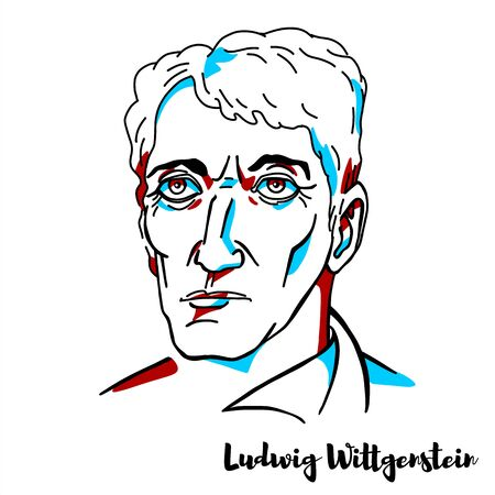 Ludwig Wittgenstein engraved vector portrait with ink contours. Austrian philosopher who worked in logic, mind and language.