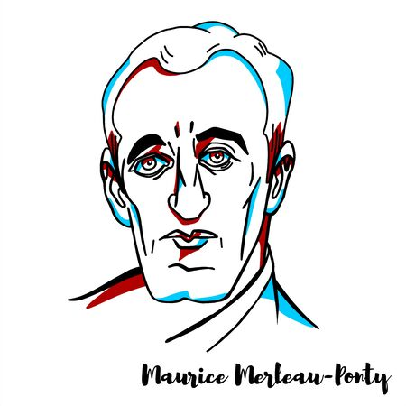 Maurice Merleau-Ponty engraved vector portrait with ink contours. French phenomenological philosopher, strongly influenced by Edmund Husserl and Martin Heidegger.