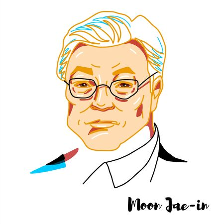 Moon Jae-in engraved vector portrait with ink contours. South Korean politician serving as the 19th and current President of South Korea since 2017.