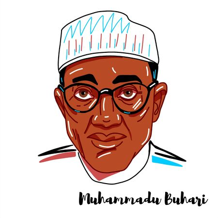 Muhammadu Buhari engraved vector portrait with ink contours. Nigerian politician currently serving as president of Nigeria, in office since 2015. Editorial