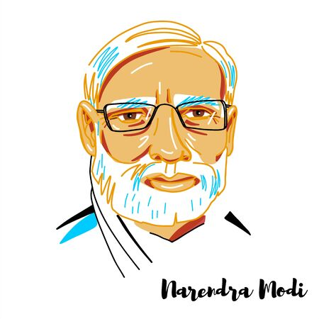 Narendra Modi engraved vector portrait with ink contours. Indian politician serving as the 14th and current Prime Minister of India since 2014.