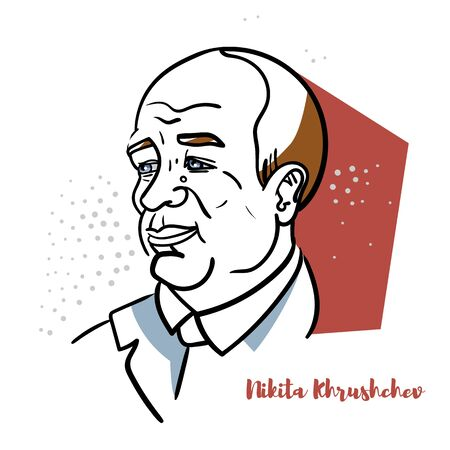 Nikita Khrushchev flat colored vector portrait with black contours. During the Cold War