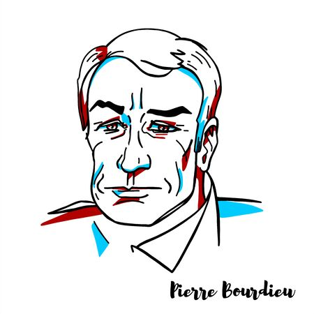 Pierre Bourdieu engraved vector portrait with ink contours. French sociologist, anthropologist, philosopher and public intellectual.