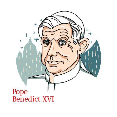 Papst Benedikt XVI. Farbvektorporträt mit schwarzen Konturen. Die Vatikanstadt von 2005 bis zu seinem Rücktritt 2013.