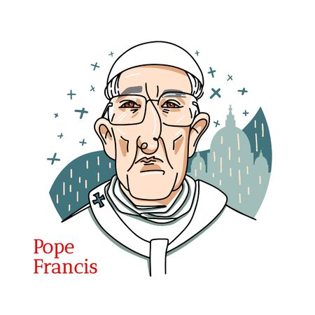 Pope Francis colored vector portrait with black contours. The Vatican City State.