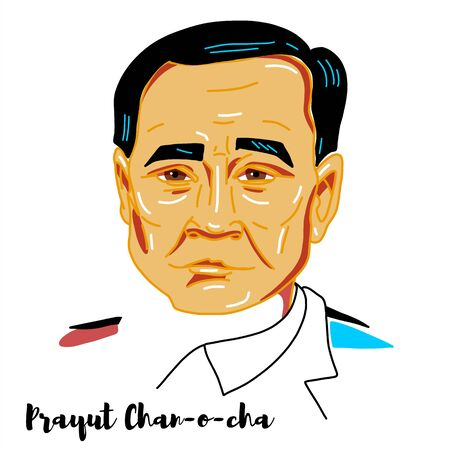 Prayut Chan-o-cha engraved vector portrait with ink contours. Thai politician, retired Royal Thai Army General, head of NCPO, and Prime Minister of Thailand. 報道画像