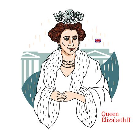 Queen Elizabeth II colored with black contours and buckingham palace at background. Queen of the UK and the Commonwealth realms.