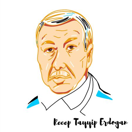 Recep Tayyip Erdogan engraved vector portrait with ink contours. Turkish politician serving as the 12th and current President of Turkey since 2014.
