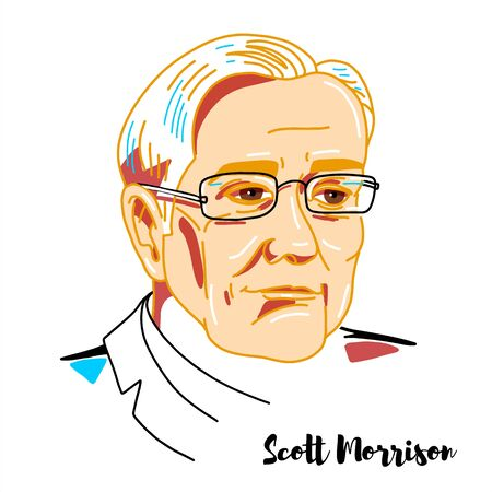 Scott Morrison engraved vector portrait with ink contours. Australian politician serving as the 30th and current Prime Minister of Australia. Editorial