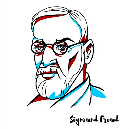 Sigmund Freud engraved vector portrait with ink contours. Austrian neurologist and psychoanalyst.