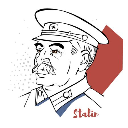 Joseph Stalin flat colored vector portrait with black contours.  Georgian revolutionary and Soviet politician who led the Soviet Union as General Secretary of the Communist Party of the Soviet Union.