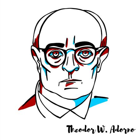 Theodor W. Adorno engraved vector portrait with ink contours. German philosopher, sociologist, psychologist and composer known for his critical theory of society.