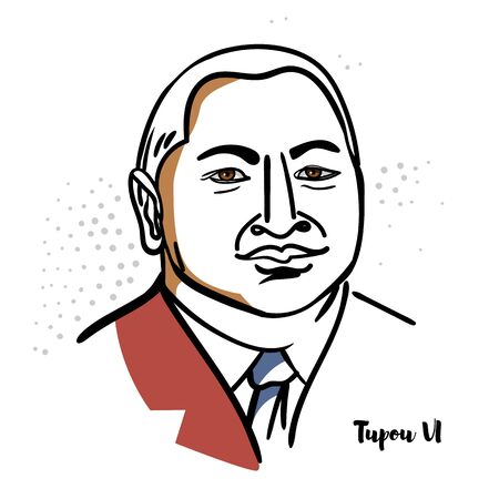 Tupou VI flat colored vector portrait with black contours. The King of Tonga, a polynesian country and archipelago constitu 169 islands. Editorial