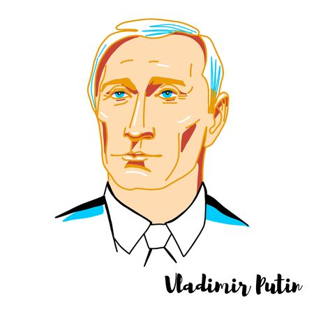 Vladimir Putin engraved vector portrait with ink contours. Russian politician and former intelligence officer serving as President of Russia. Editorial