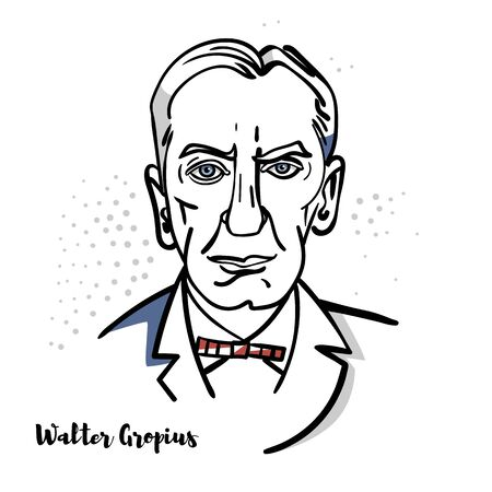 Walter Gropius flat colored vector portrait with black contours. German Architect and Bauhaus School.
