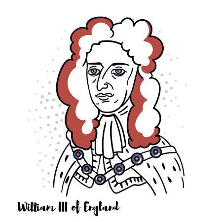 William III of England flat colored vector portrait with black contours. Prince of Orange from birth, Stadtholder of Holland, Zeeland, Utrecht, Gelderland and Overijssel in the Dutch Republic, King of England, Ireland and Scotland.