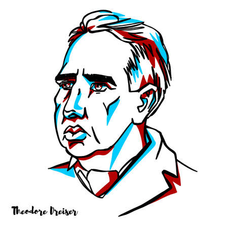 Theodore Dreiser vector engraved portrait on white background. American novelist and journalist of the naturalist school.