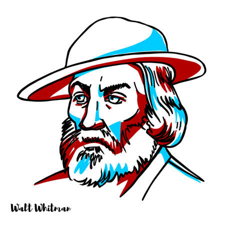 Walt Whitman vector portrait. American poet, essayist, and journalist. A humanist, he was a part of the transition between transcendentalism and realism.