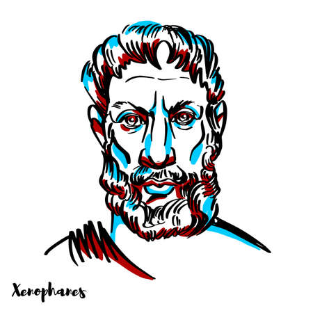Xenophanes engraved vector portrait with ink contours on white background. Greek philosopher, theologian, poet, and critic of religious polytheism.