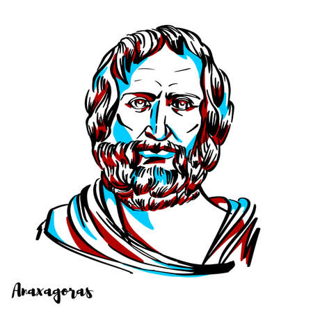 Anaxagoras engraved vector portrait with ink contours on white background. Pre-Socratic Greek philosopher. 向量圖像