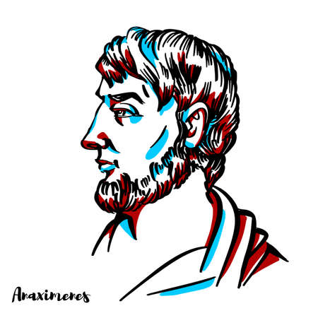 Anaximenes of Miletus engraved vector portrait with ink contours on white background. Ancient Greek Pre-Socratic philosopher active in the latter half of the 6th century BC.