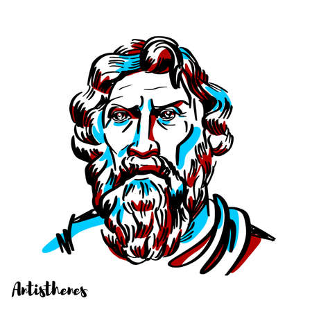 Antisthenes engraved vector portrait with ink contours on white background. Greek philosopher and a pupil of Socrates. Antisthenes first learned rhetoric under Gorgias before becoming an ardent disciple of Socrates.