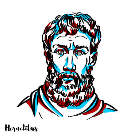 Heraclitus engraved vector portrait with ink contours on white background. Ancient Greek, pre-Socratic, Ionian philosopher and a native of the city of Ephesus, which was then part of the Persian Empire.