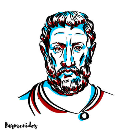 Parmenides engraved vector portrait with ink contours on white background. Pre-Socratic Greek philosopher from Elea in Magna Graecia.