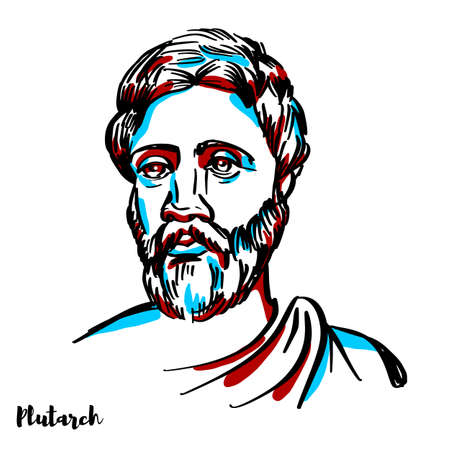 Plutarch engraved vector portrait with ink contours on white background. Greek Middle Platonist philosopher, biographer, essayist, and priest at the Temple of Apollo.