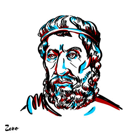Zeno engraved vector portrait with ink contours on white background. Pre-Socratic Greek philosopher of Magna Graecia and a member of the Eleatic School founded by Parmenides.