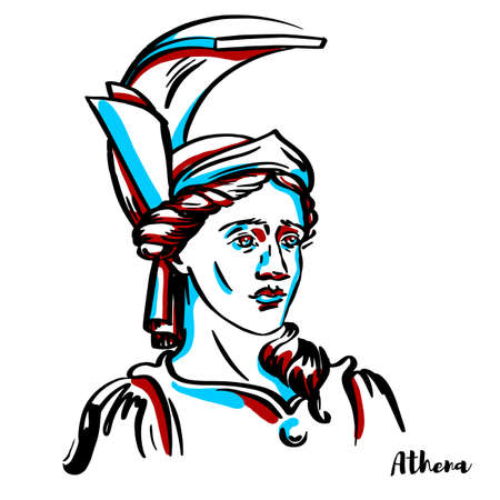 Athena engraved vector portrait with ink contours on white background. Is an ancient Greek goddess associated with wisdom, handicraft, and warfare who was later syncretized with the goddess Minerva.