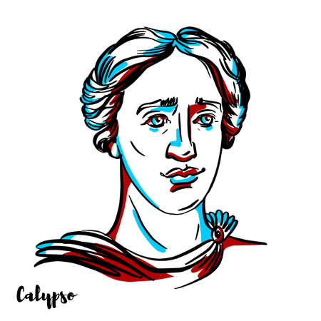 Calypso engraved vector portrait with ink contours on white background. The nymph in Greek mythology, who lived on the island of Ogygia, where she detained Odysseus for seven years. Stock Illustratie