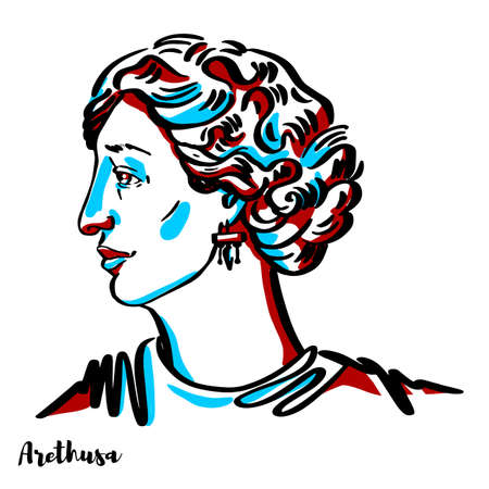 Arethusa engraved vector portrait with ink contours on white background. In Greek mythology, Arethusa was a nymph and daughter of Nereus. Stock Illustratie